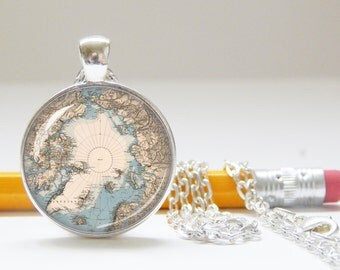 North Pole Map Necklace, Holiday Jewelry, Christmas Pendant, Gift for Teacher, College gift, Geography, Map Jewelry