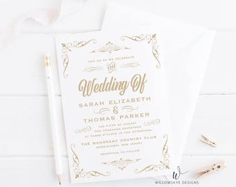 Whimsical Wedding Invitation -- SAMPLE