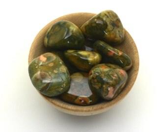 Rhyolite tumbled stone one piece, volcanic rock tumblestone, polished rhyolite 'rainforest jasper' pocket stone