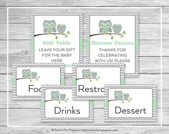 Owl Baby Shower Table Signs - Printable Baby Shower Table Signs - Green Owl Baby Shower - Owl Shower - Baby Shower Signs - EDITABLE - SP137