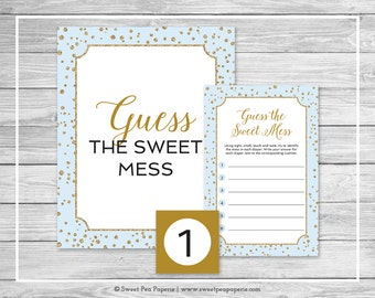 Blue and Gold Baby Shower Guess The Mess Game - Printable Baby Shower Guess The Sweet Mess Game - Blue and Gold Baby Shower - SP146