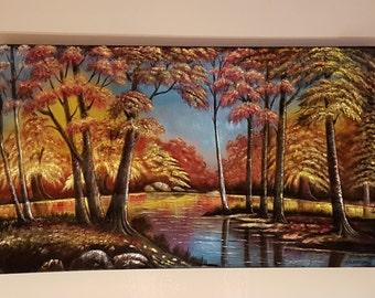 """Original Oil Painting on Velvet- """"Fall Morn"""""""
