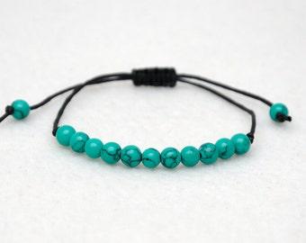 Green turquoise bracelet Gemstone bracelet Wax Cord Bracelet gemstone bead Thread Bracelet Minimal bracelet String Bracelet friend gifts