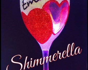Heart glitter glass