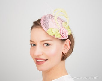 Green Pink Rose Fascinator