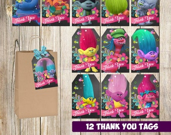 Troll Thank you tags instant download, Printable Troll Thank you cards, Troll gift tags, Troll printable
