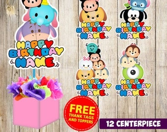 12 Tsum Tsum centerpieces,Tsum Tsum printable centerpieces,Tsum Tsum party supplies,Tsum Tsum birthday, Favors, decorations