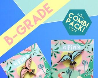 B-GRADE bird pin COMBI-PACK! Turquoise & Coral