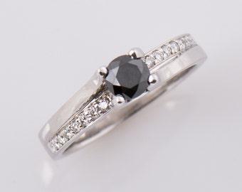 Twisted Engagement Ring, Black Diamond Engagement Ring, 14K White Gold Ring, Black & White Diamond, Unique Ring, 0.40ct diamond
