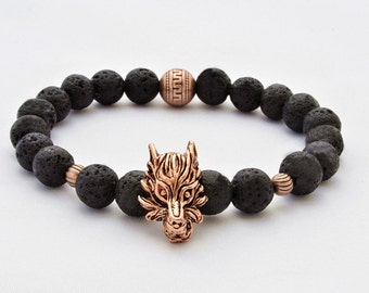 Wolf head bracelet, Bracelet gift, Lava stone bracelets, Men's bracelet Gift for him,  Brother gift,game of thrones jewelry