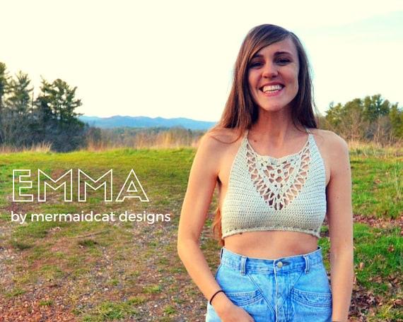 Crochet crop top / bikini top pattern - Emma
