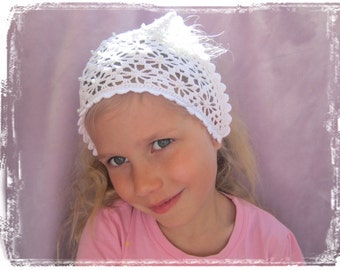 Crochet lace head scarf with pearls, Cotton hair kerchief, Wedding accessories, Crochet lace accessories,  lacy summer hat, fits many sizes
