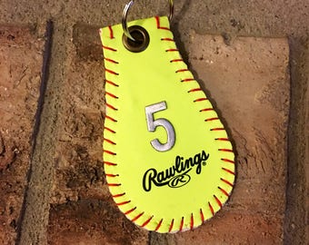 Softball Keychain--Great Softball Gift/Softball Players Gift/Softball Team Gifts