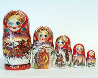 Nesting dolls Russian Winter Troyka - #100bb