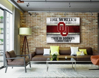 Oklahoma Sooners | Stretched Canvas Wall Art | Add Your Name | Customized