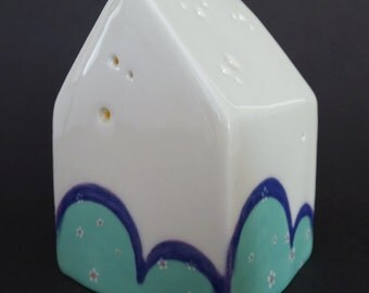 Tea Light Candle House with Green and Purple Decoration