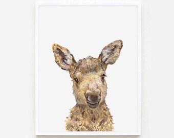Baby Moose Portrait Print, Moose nursery art,  Woodland Nursery, Giclee, Baby Moose Print, Moose portrait