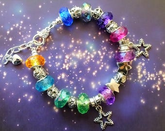 Aurora Borealis Northern Lights European Bracelet Large Hole Bracelet Large Hole Beads Snake Chain Bracelet Beaded Bracelet Jewelry Stars