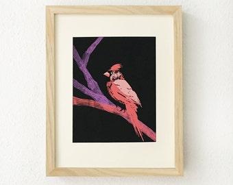 Cardinal, Bird, Bird art, Cardinal art, Bird home decor, home decor, nature, trees, whimsical bird wall art, bird print, gift for bird lover