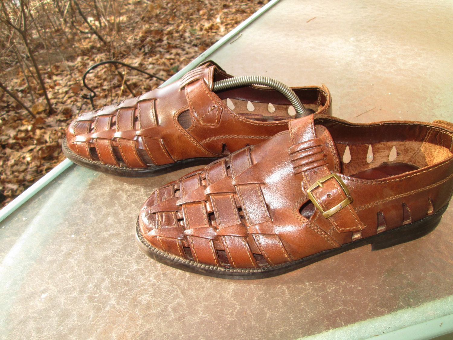 Dukes roller shoes - Mens Brown Leather Vintage Huarache Style Woven Leather Shoe Made In India For Verde Mens Size 10 M Hip Mod Reteo Steampunk Spring Shoe