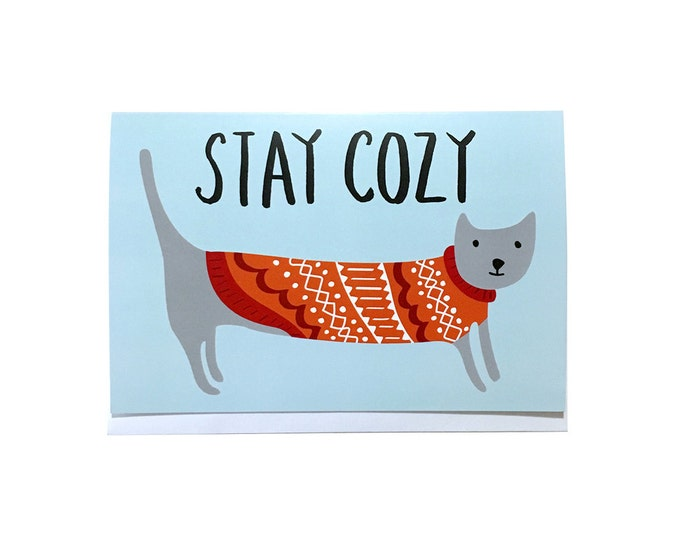 Stay Cozy (Cat) | Holiday Greeting Card