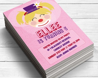 Clown Invitations, Clown Birthday Invitations, Luxury Clown Party Invitations, Clown Party, Clown Party Supplies, Girls Party Invitations