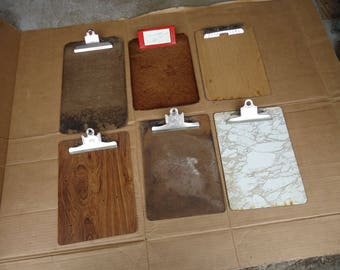 vintage clipboard wooden files lot,old office business clipboards,A and W,service,office wall decor,craft supply