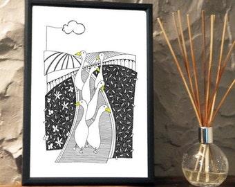 Quirky Runner Ducks Print from an original art Illustration ART030P