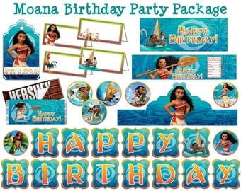 Moana Birthday Party Pack Moana Party Pack Moana Party Supplies Moana Supplies Moana Decor Moana Party Decor Printable Instant Download