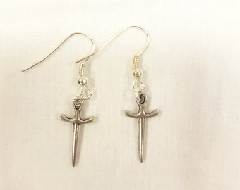 Silver sword earrings