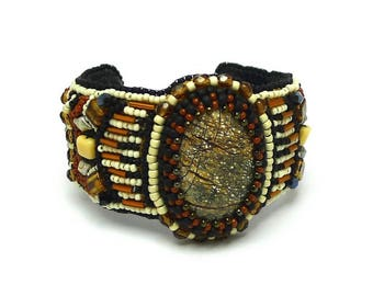 Embroidered cuff bracelet Jasper