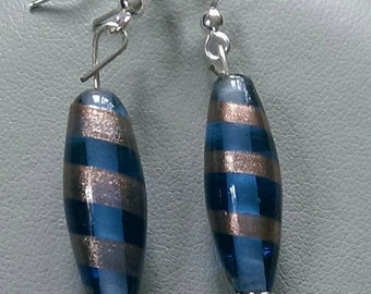 Blue and Brown Striped Lampwork Earrings