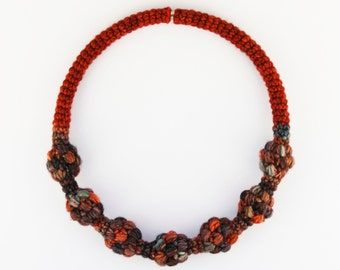 Unique jewelry made of yarn, Chic necklace, Crochet jewellery, Fashion accessory, Women necklace, Statement necklace