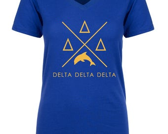 Delta Delta Delta Infinity V-Neck Shirt - Gold Print (unless noted otherwise)