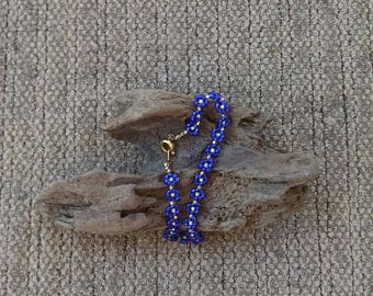Beaded Blue and Clear Daisy Chain Bracelet, Flower Chain, Boho Jewelry