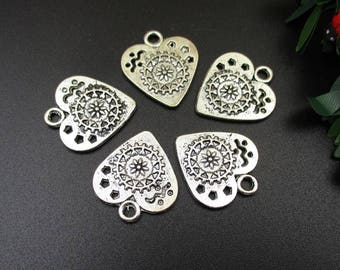 10PCS,21x23mm,Silver Heart Charms 2 Sided - p1172