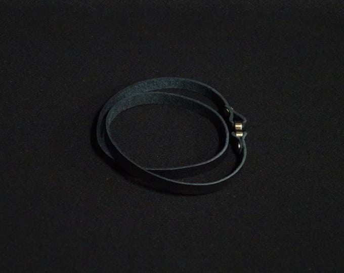 J-Band - Black Double Loop - Wristband handmade in Australia using genuine Australian kangaroo leather. Magentic clasp.
