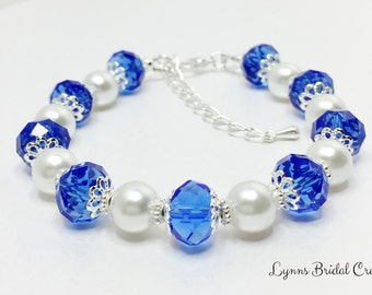 Blue Bridesmaid Bracelet Blue Crystal Beaded Bracelet Crystal and Pearl Wedding Gift Mother Of The Bride Gift  Royal Blue Bridal Party Gift