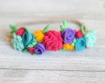 Spring Mini Crown ~ Floral Crown ~ Floral Headband ~ Colorful Headband ~ Baby Headband ~ Easter ~ Spring Flowers ~ Headbands ~ Hair Clips ~