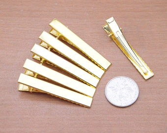 100pcs 56x8mm gold Alligator Clips with Teeth, Hair Flower Clip,flat back metal clips Hair Flower,Hair Bows Clips wholesale