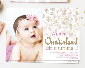 Gold Pink Winter Onederland Invitation, winter birthday, wonderland, first birthday invitation, 1st birthday girl, snowflakes, gold birthday