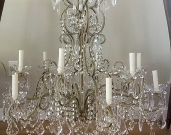 "Vintage ITALIAN Crystal Directoire Chandelier Macaroni Beaded Drops 12 lights 34"" wide"