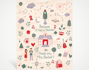 Because I Had a Teacher Custom Art Print - Pink   Studio Carrie Wall Art   8x10   5x7   Teacher Gift   Thank You