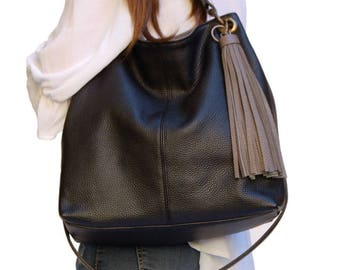 Black Italian calf skin. Sling bag Cross Body purse for any occasion Great bag for the city. Gift for the best mother in the world Unique.