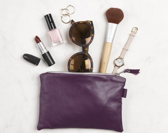 Purple Leather Clutch Bag // Small Leather Pouch // Bridesmaid Gift // Leather Pouch // Leather Clutch // Gift for Women // Leather Bag