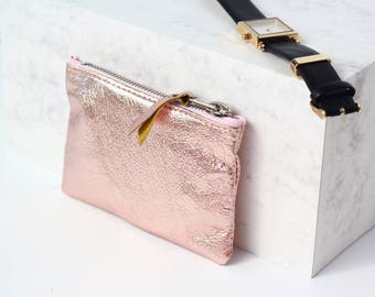 Rose Gold Leather Coin Pouch // Metallic Leather Coin Purse // Rose Gold Leather Bag // Custom Monogram / Small Leather Bag / Leather Wallet