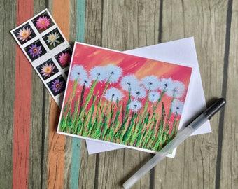 Dandelion - Blank Note Card - Dandelion Card - Art Card - Blank Note Card with Envelope - Gift for Artist - Personal Stationery - Card
