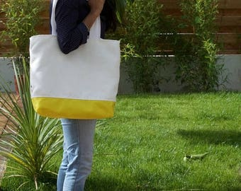 ON SALE White and yellow TOTE. Summer shoulder bag.