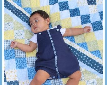Baby Boy Romper, Peter Pan Collar, Playsuit