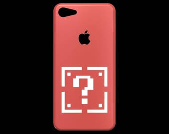 Super Mario Bros Series Inspired Mario Question Mark Block 3D Cutout Silhouette Back/ SilliconeShellPhone Case for iPhone and Galaxy Phones.